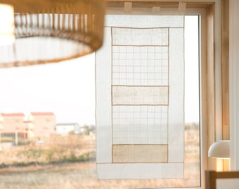 Ramie Korean Patchwork Curtain/ Korea Traditional Jogakbo Curtain, Korean fabric Art Jogakbo, Window decoration, Window treatment decoration