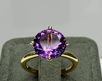 Gemstone ring: amethyst engagement ring gift genuine natural amethyst ring in 9K gold promise ring for her purple amethyst gold ring