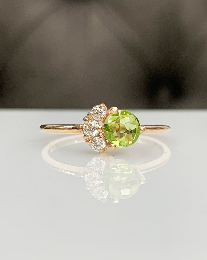 14K Solid Gold Best Gift for Her Handmade Modern Jewelry Peridot Diamond Cluster Engagement Ring Natural Green Peridot