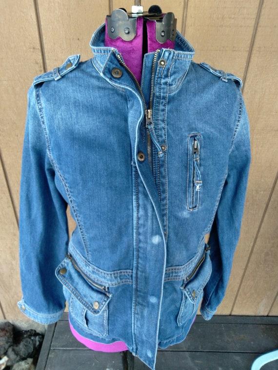 LUCKY Brand Denim Moto Jacket Zip Snap As-Is VINTA