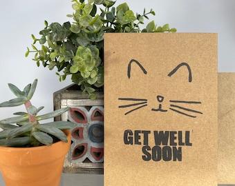 Cute Kitty Cat Kitten Silhouette Face Get Well Soon Feel Better Sick Kraft Blank Greeting Card Envelope Handcrafted Handmade Stamped