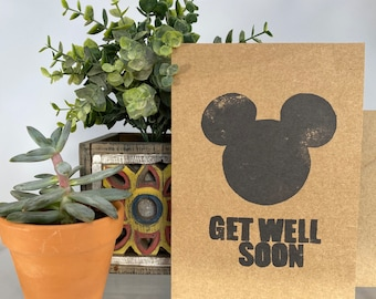 Disney Mickey Mouse Silhouette Get Well Soon Feel Better Sick Kraft Blank Greeting Card And Envelope Handcrafted Handmade Stamped Stamp