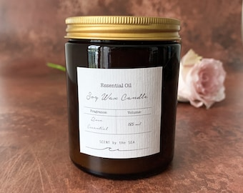 Tranquility Blend Rose Geranium and Ylang Ylang Scented Soy Wax Candle Vegan Sustainable Natural