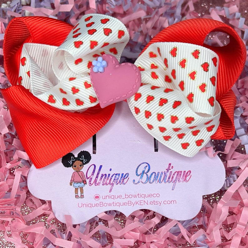 Red and White Heart Hair Bow