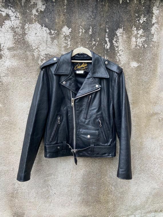 Vintage Cowhide Leather Jacket Black motorcycle Ja