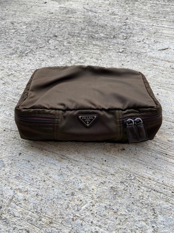 Vintage PRADA Bag Nylon Brown Clutch Cosmetic Bag