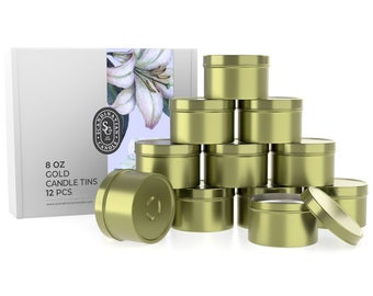 Gold Candle Tins With Lids - 12 PCS of 8 Oz