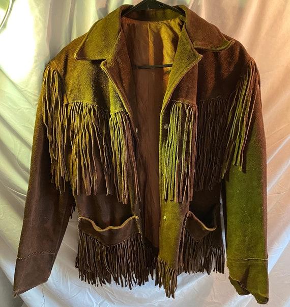 real leather 70's fringe jacket