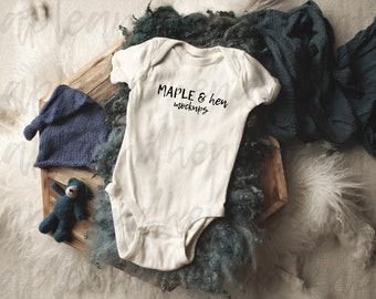 Moody Boho Organic Infant Bodysuit Flat Lay Boys Bella Canvas 100B Natural Baby Bodysuit Mockup Toddler /& Baby Rabbit Skins 4424