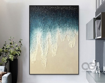 Large Textured Ocean Acrylic Painting Framed Ocean Painting On Canvas Abstract Ocean Art On Canvas Coastal Wall Art Beach Canvas Wall Decor