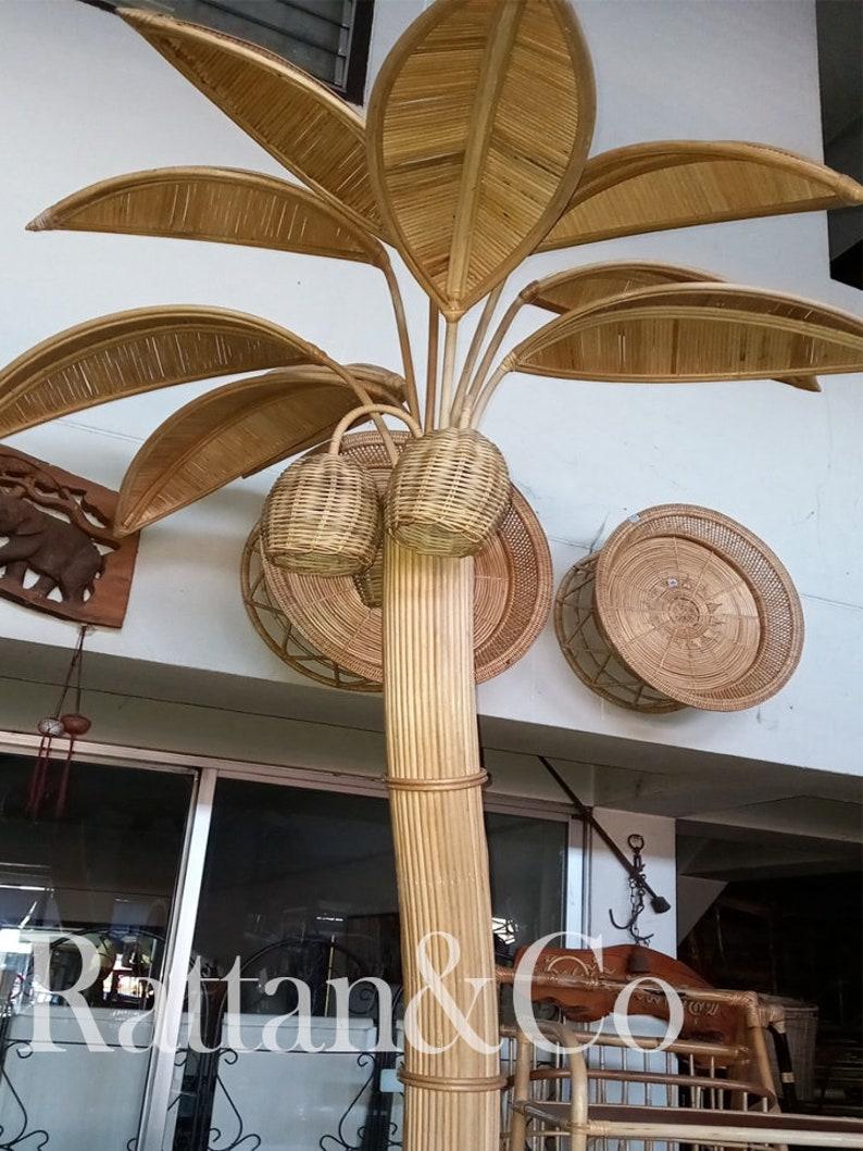 Handmade Natural Rattan Coconut Tree Floor Lamp image 0