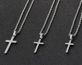 Men's Cross Necklace, Silver Cross Necklace for Men, Men Small Cross Necklace, Large Cross Necklace, Silver Cross Pendant with Rope Chain