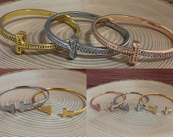 T Bangle 18ct Plating Stoned or Unstoned