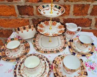 Vintage Afternoon Tea Set China Imari Antique Edwardian Victorian Cups Saucers Side Plates Mismatched Wedding Afternoon Tea Party Crockery