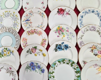 6 x Made In England Bone China Mix and Match Mismatched Side / Tea / Bread and Butter Plates Set Afternoon Tea Party Crockery