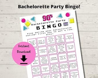 Bachelorette Bingo 90s Theme - Bachelorette Party Bingo Game, Printable game for Hen Party