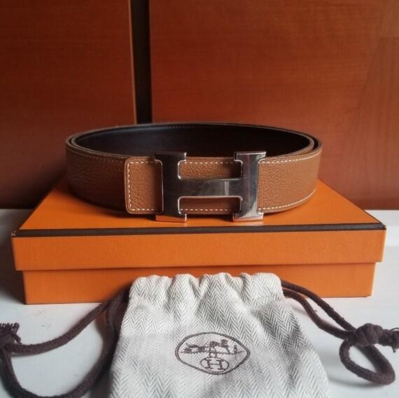 Hermes Constance Buckle &Reversible Strap Belt ,Au