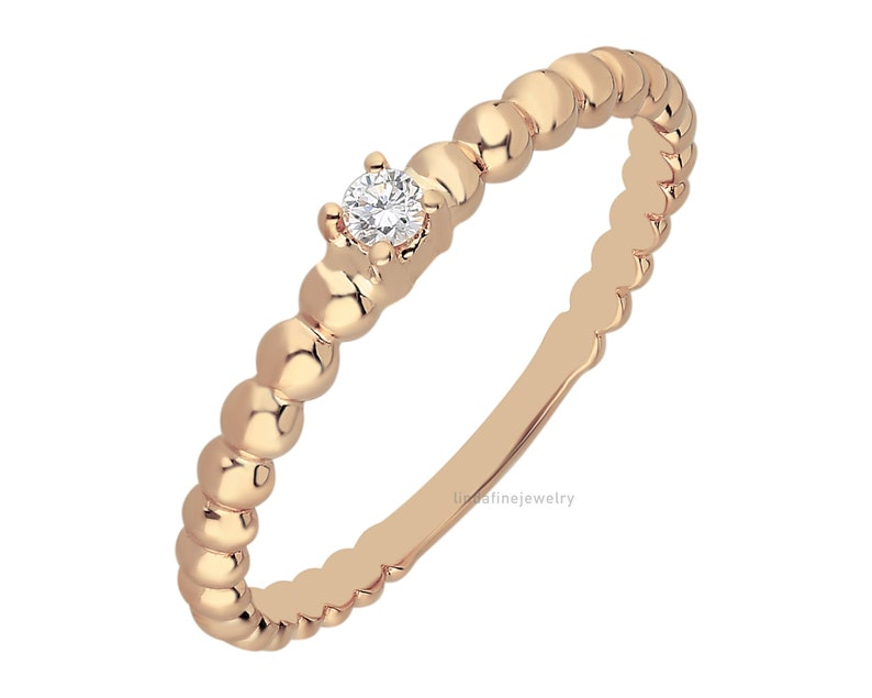 Thin Diamond Ring Women Dainty Gift Solid 14K Gold Genuine Solitare Diamond Engagement Ring Beaded Diamond Ring Delicate Stacking Ring