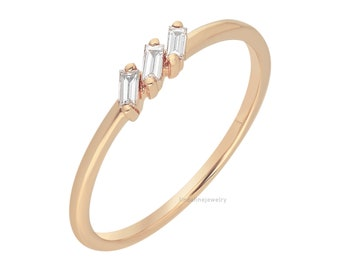 Three Stone Baguette Diamond Ring,14k Yellow, Rose, White Gold Ring, Baguette Stacking Ring, Minimalist Style, Birthday Gift for Women