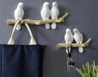 african grey parot wall hanging key rack bird