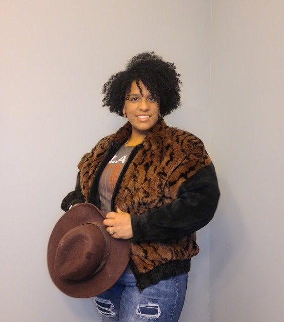 Black & Brown Faux Fur/Leather Jacket