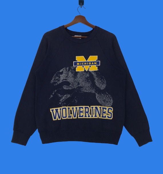 90s Michigan Sweater 90s Russell Athletic Michigan Wolverines Spell Out Sweater Navy Blue Mens Large Vintage Michigan Wolverines Sweater