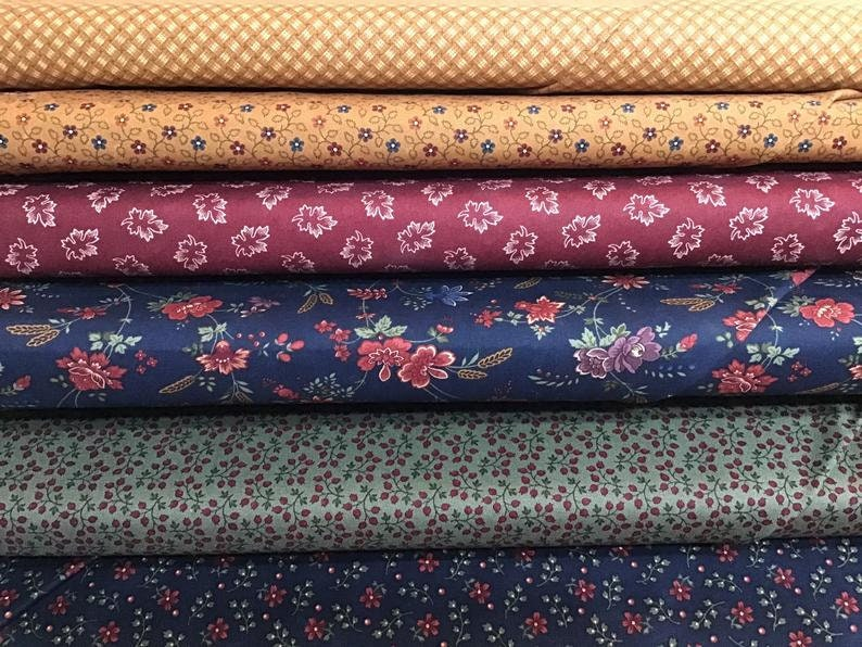 3 yards total Six 12 yard cuts of cotton fabric beautiful quilt shop fabric greens and blue fabric Kansas Troubles for Moda golds,reds