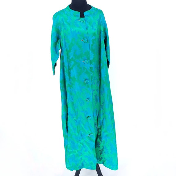 Vintage 1950s Chiha Riserfeld  Blue Green Silk Hou