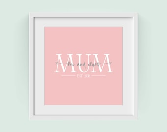 Mother's Day Gift | Personalised Mum Established Year Poster Print | Wall Art Print | Living room art | FREE UK DELIVERY
