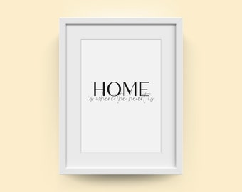 Home is where the heart is | Inspirational Wall Art | Moving home gift | New home wall print | First home present