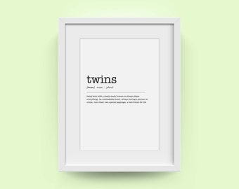 Mother's Day Gift | Twins Definition Art Print | Wall Art Print | Family Members Dictionary Definition | Nursery Decor | FREE UK DELIVERY