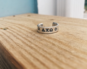 Sorority Ring - Custom Made/ hand-stamped/ personalized/ Big Little Gift/ Initiation Gift/ Sorority Family Gift
