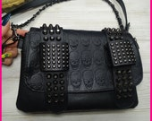 Gothic skull Pattern Leather Shoulder Bags, Punk Crossbody Bags, Day Of The Dead Shoulder Bag,sugar skull Crossbody bag, skull purse wallet