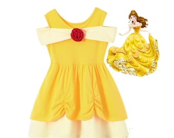 Ready to Ship,Belle Dress,Princess Cotton Outfit,Birthday Princess Beauty and the Beast Toddler Dress