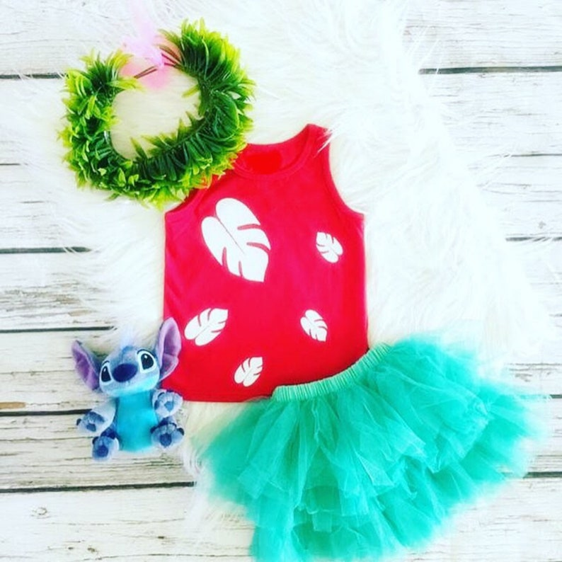 Ready to Ship,Lilo and Stitch,Toddler Girl,Lilo Red Shirt,Green Tutu,Lilo Birthday Party,Theme,Decoration,Dress Outfit,Lilo