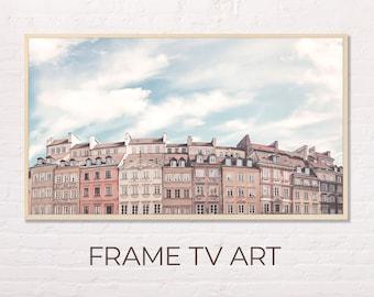 Samsung Frame TV Art   Architecture Landscape   Old Town Market Place Warsaw Pastel Colors Art for The Frame Tv   Digital Art Frame Tv