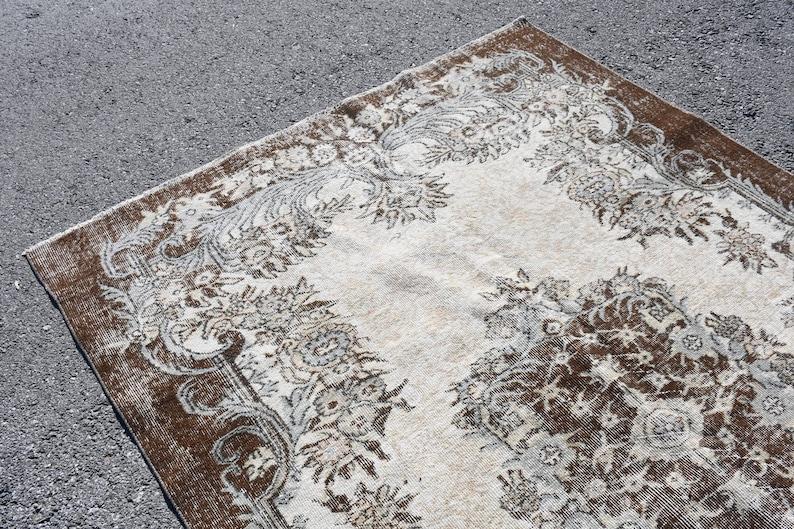 Wool Salon Carpet Tribal Living Room Rug Vintage Rug 71x109 Inches Beige Rug Large Rug 1517 Turkish Rug Oushak Rug