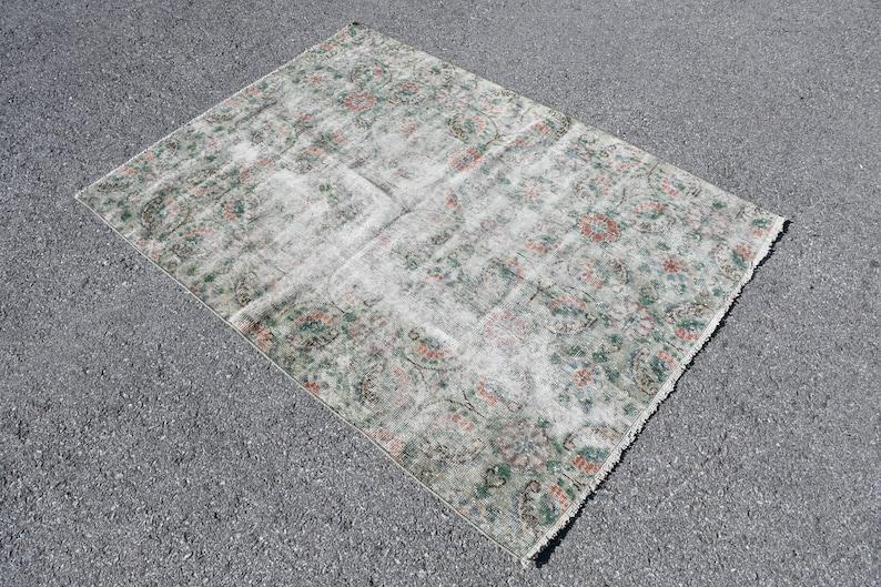 Turkish Rug 1534 Handwoven Bedroom Carpet Tribal Entry Rug Accent Rug Oushak Rug Vintage Rug 49x67 Inches Green Carpet