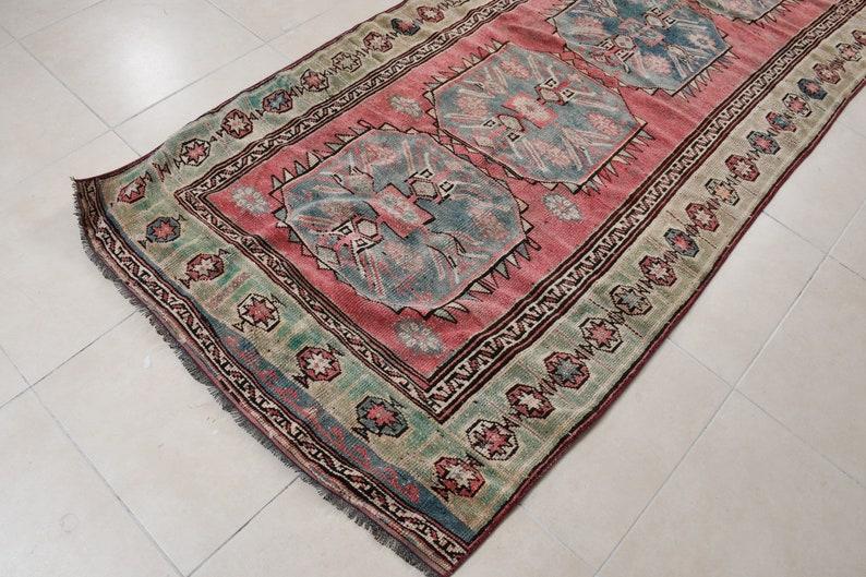 Area Rug 49x109 Inc Pink Rug Vintage Rug Office Bedroom Rugs 780 Turkish Rug Antique Rug Anatolian Indoor Rug