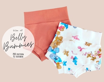 High Waisted Bummies sewing pattern, Easy bummie shorts PDF sewing pattern, Baby bummie sewing pattern, Baby shorties sewing pattern