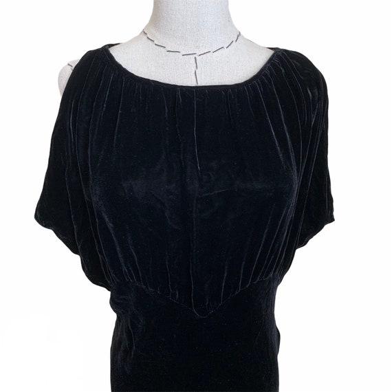 Vintage 30s Bias Cut Evening Dress Black Silk Vel… - image 3
