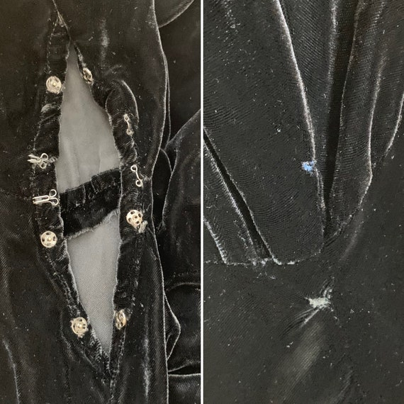 Vintage 30s Bias Cut Evening Dress Black Silk Vel… - image 9