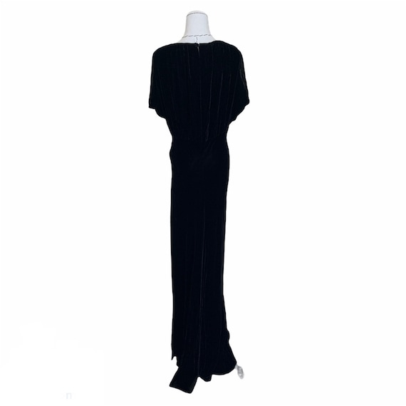 Vintage 30s Bias Cut Evening Dress Black Silk Vel… - image 5