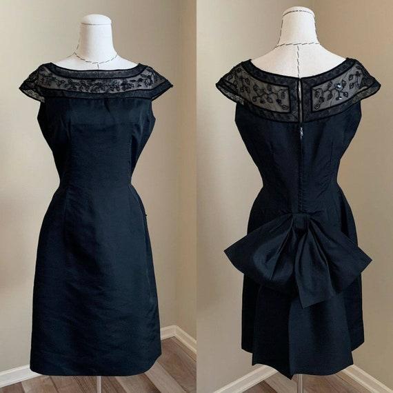 Vintage 1950s Off Shoulder Cocktail Mod Dress Black Pockets Designer Paul Parnes Sz 6 Small