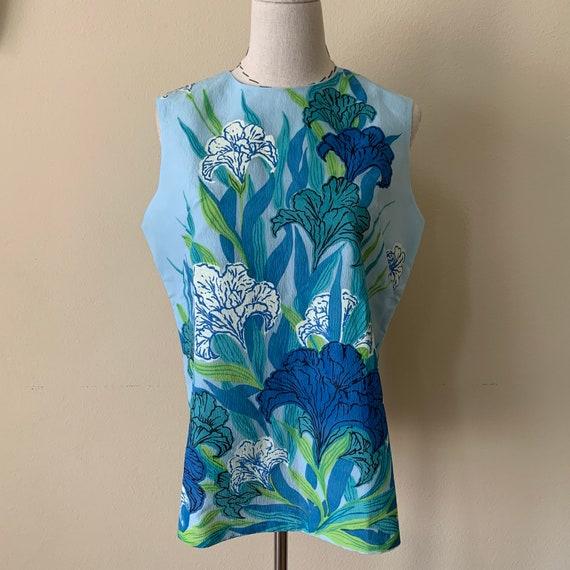 Vintage 60s 70s MR DINO Blue Iris Floral Print Top
