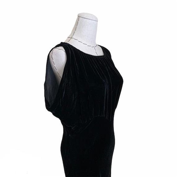 Vintage 30s Bias Cut Evening Dress Black Silk Vel… - image 1