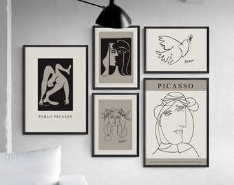 Picasso Print set, picasso poster, picasso wall art, picasso art print, pablo picasso, picasso sketch, digital download, downloadable prints
