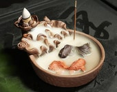 Incense Burner Koi Fish Pond Waterfall, Backflow Incense Burner Holder, Feng Shui Housewarming Gifts, Auroma Care Package