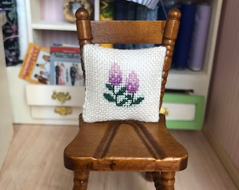 miniature pillow, 1:12 scale, hand embroidered, unique piece