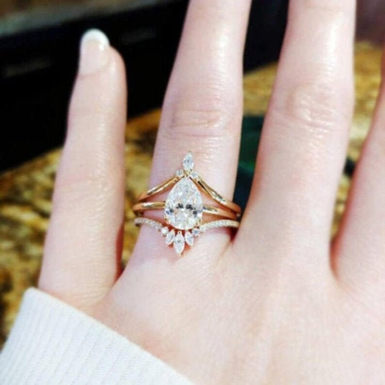 3pcs Pear shaped Moissanite engagement ring Rose gold Unique Vintage ring for women Twisted diamond wedding Bridal Christmas Promise gift